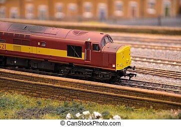 moteur, modèle, rouges, diesel, train
