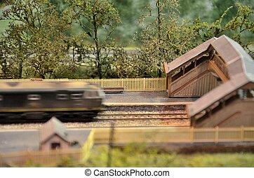 moteur, modèle, zooms, passé, train