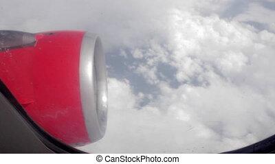 moteur, nuages, fenêtre, par, avion, vue