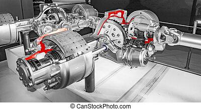 moteur, parties, camion, système, interne
