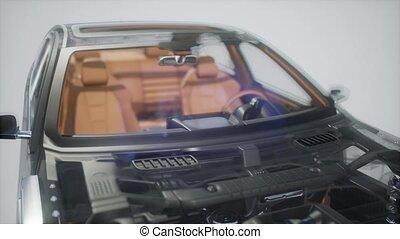moteur, parties voiture, autre, visible