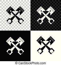 moteur, pistons, deux, illustration, isolé, arrière-plan., vecteur, traversé, noir, blanc, transparent, icône