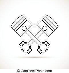 moteur, pistons, traversé, contour, icône