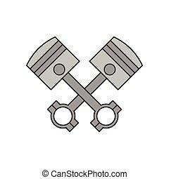 moteur, pistons, traversé, icône
