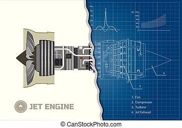 moteur, plan, industriel, contour, jet, style.