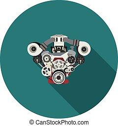 moteur, plat, interne, combustion, icône