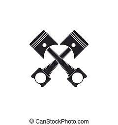 moteur, plat, isolated., pistons, deux, illustration, vecteur, traversé, icône, design.