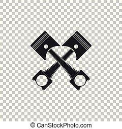 moteur, plat, pistons, isolé, illustration, deux, arrière-plan., vecteur, traversé, icône, transparent, design.