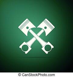 moteur, plat, pistons, isolé, illustration, deux, arrière-plan., vecteur, traversé, vert, icône, design.