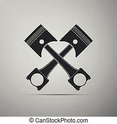 moteur, plat, pistons, isolé, illustration, gris, arrière-plan., vecteur, traversé, deux, icône, design.