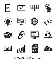 moteur, plat, recherche, ensemble, icônes, optimization, noir, blanc
