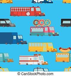 moteur, police, taxi., brûler, voiture, pattern., seamless, restauration rapide, vecteur, voiture., illustration, ambulance, truck., dessin animé