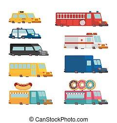 moteur, police, taxi., brûler, voiture, set., restauration rapide, vecteur, voiture., illustration, ambulance, truck., dessin animé