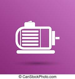moteur, pouvoir électrique, symbole, vecteur, moteur, icône