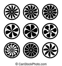 moteur, power., icônes, set., turbines, vecteur, turboréacteur