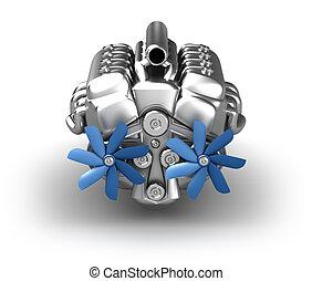 moteur, propre, sur, conception, white., v8, mon
