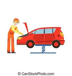 moteur, réparation, service, voiture, garage, regarder, atelier, illustration, mécanicien, sourire