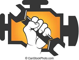 moteur, réparation, vecteur, voiture