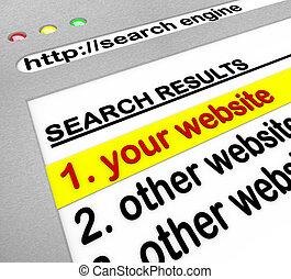 moteur, résultats recherche, -, nombre, site, une, ton