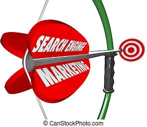 moteur recherche, commercialisation, sem, arc, flèche, visé, publicité