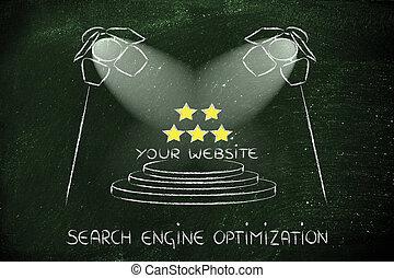 moteur, recherche, conception, seo, optimization, projecteur