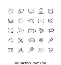 moteur, recherche, ensemble, service, icônes, vecteur, seo, ligne, optimization