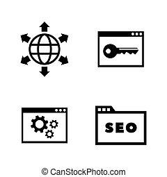moteur, recherche, icônes, simple, apparenté, vecteur, optimization.