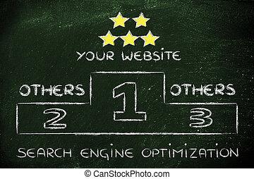 moteur, recherche, illustration, podium, optimization, seo