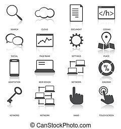 moteur, recherche, optimization, ensemble, icônes