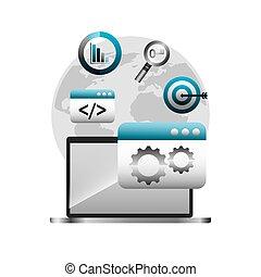 moteur, recherche, optimization, icônes