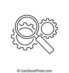 moteur, recherche, optimization, ligne, icône
