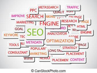 moteur, recherche, optimization, -, vecteur, fond, seo