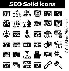 moteur, recherche, solide, optimization, icons., vecteur,...