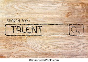 moteur, recherche, talent, barre