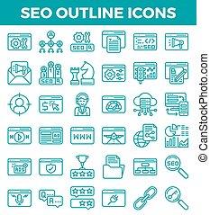 moteur, recherche, vecteur, contour, icons., optimization,...