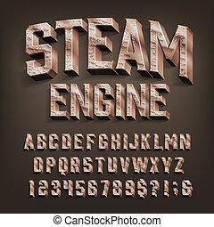 moteur, retro, alphabet, 3d, vapeur, numbers., lettres, laiton, font.