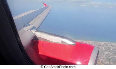 moteur, rivage, par, mer, hublot, avion, paysage, vue