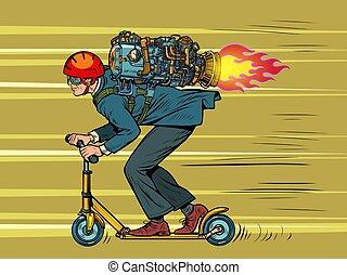 moteur, scooter., homme affaires, élevé, équitation, jet, ...