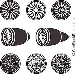 moteur, silhouettes, technologie, avion, ensemble, turbines, aircraft., icônes