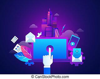 moteur, site web, isométrique, concept, illustration., commercialisation, image, jeu, atterrissage, button., recherche, cahier, conception, gabarit, techniques., vecteur, optimization., page.
