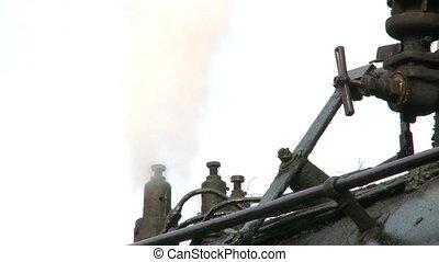 moteur, sm, vapeur, bourdonnez dehors, train