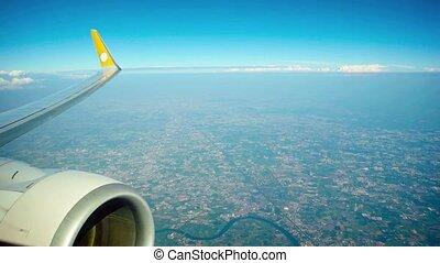 moteur, sur, airplane's, vidéo, peuplé, area., entiers, aile, hd