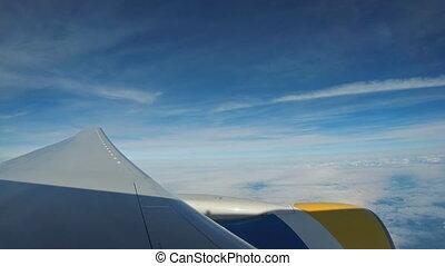moteur, sur, voler, ciel, clouds., avion, par, aile avion, vue