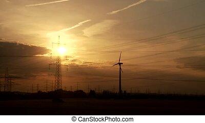 moteur, timelapse, coucher soleil, vent