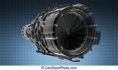 moteur, tourner, avion réaction, industrie, concept, avion, ...