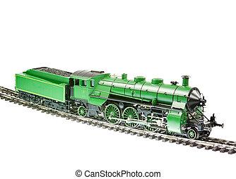 moteur, train, jouet, locomotive, vapeur