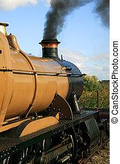 moteur, train, locomotive, vapeur