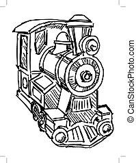 moteur, train, vapeur