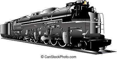 moteur, train, vapeur, locomotive