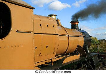 moteur, train vapeur, locomotive